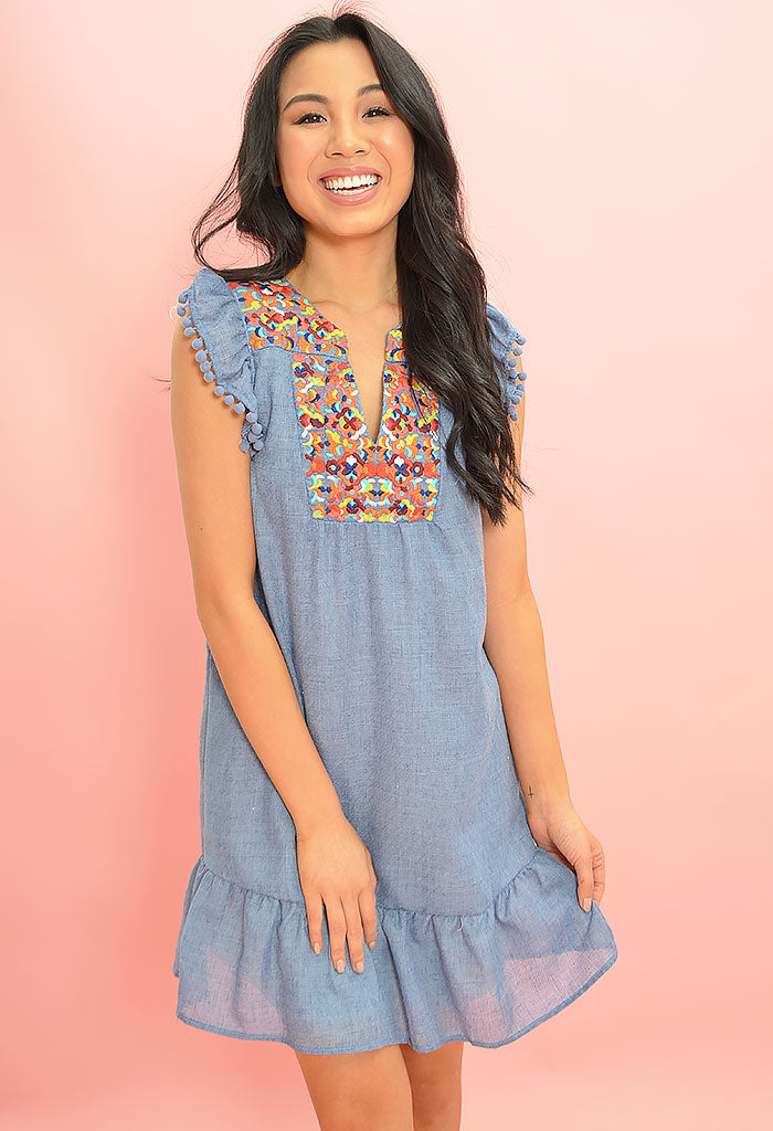Rebecca Dress - Denim Blue
