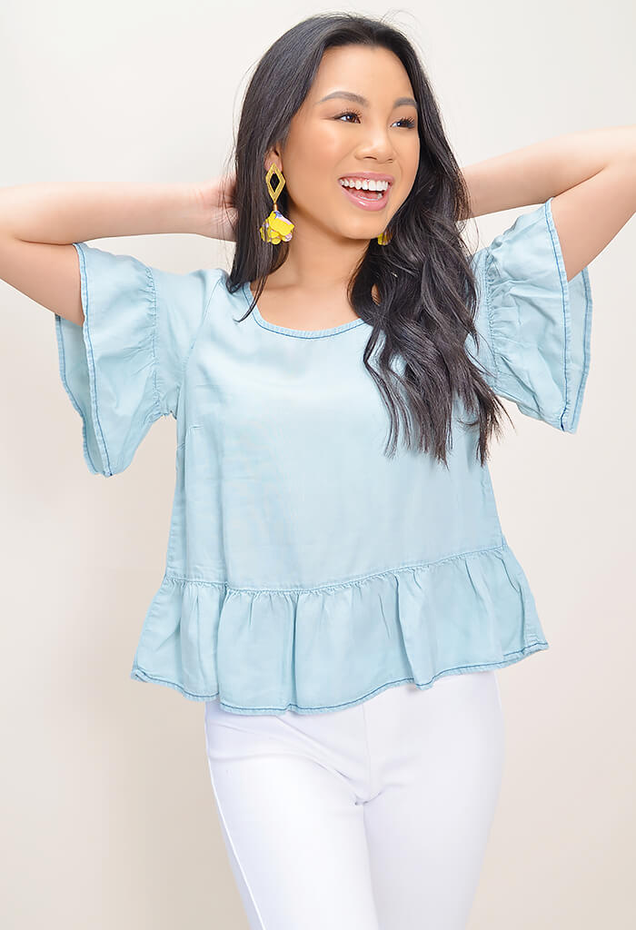 Ruffle & Ready Chambray Top