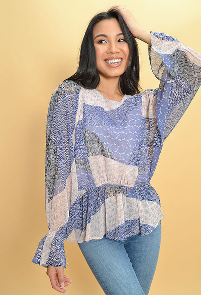 Easy Breezy Blouse-Steel Lavender