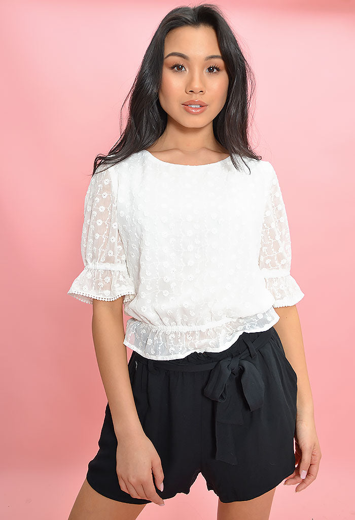 Chiffon Cloud Nine Top-Ivory