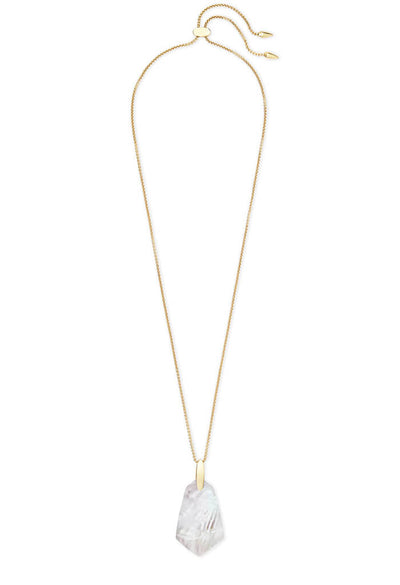 Cam Gold Long Pendant Necklace in Ivory Pearl
