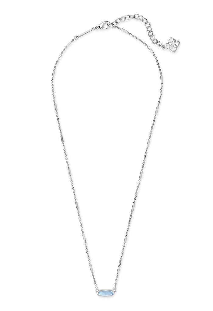 Miya Bright Silver Pendant Necklace in Sky Blue Illusion