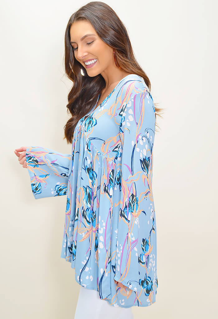 Bella Printed Tunic - Blue