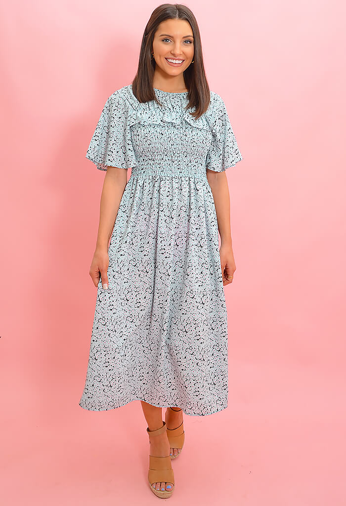 KK Bloom Cece Midi Dress-Mint Blue
