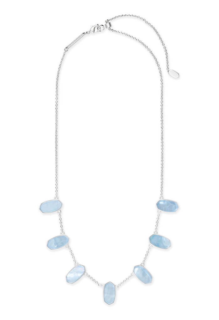 Meadow Bright Silver Statement Necklace in Sky Blue Illusion