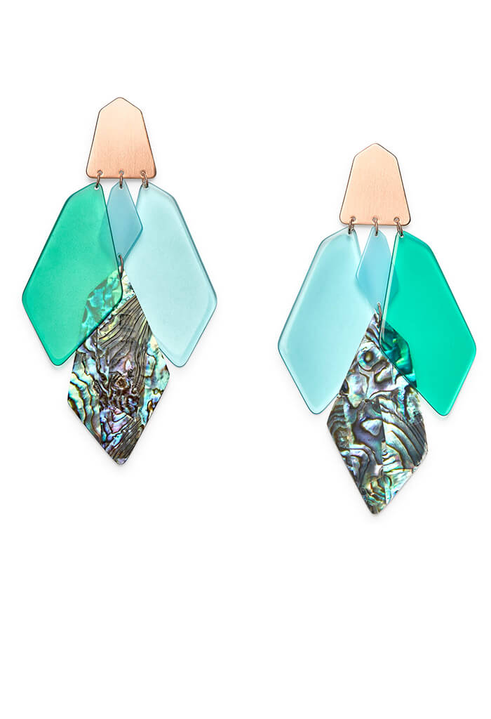 Gracie Rose Gold Statement Earrings in Abalone Mix