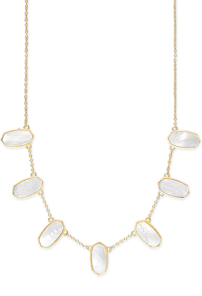 Meadow Gold Statement Necklace in Ivory Pearl