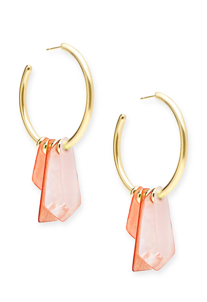 Gaby Gold Statement Earrings in Peach Mix