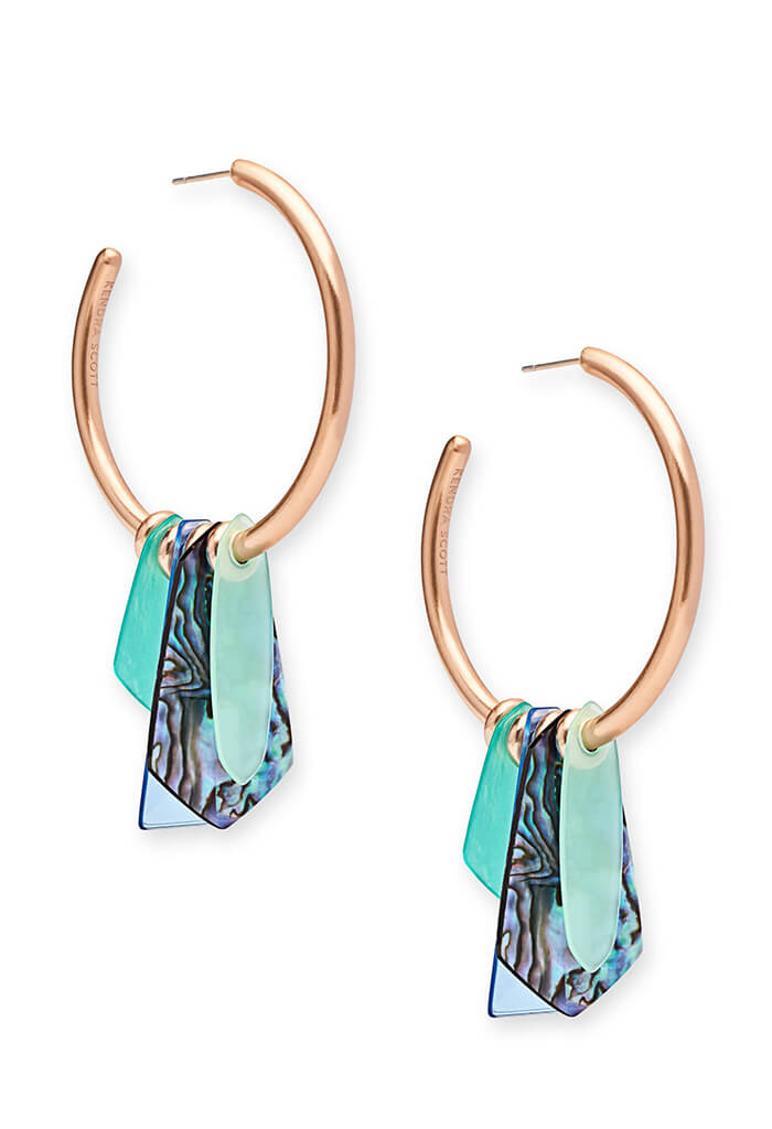 Gaby Rose Gold Statement Earrings in Abalone Mix