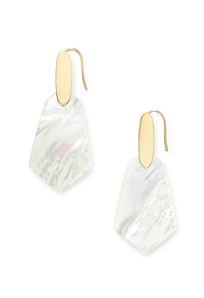 Camila Gold Drop Earrings in Ivory Pearl