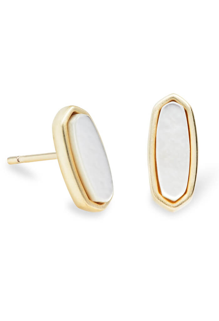 Mae Gold Stud Earrings in Ivory Pearl