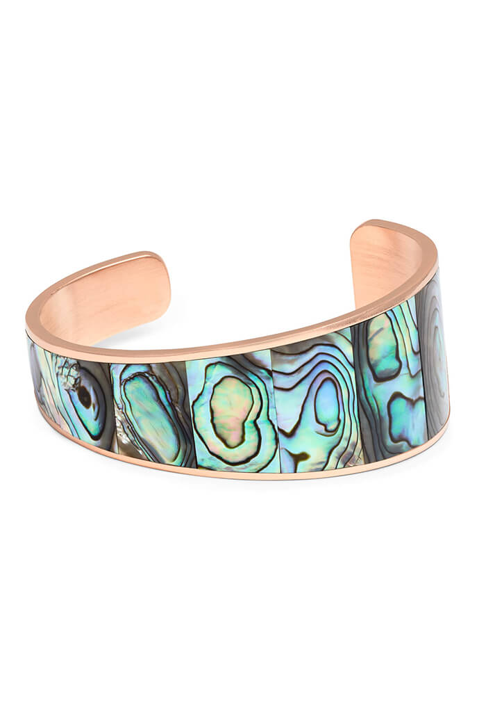 Tenley Rose Gold Cuff Bracelet in Abalone Shell