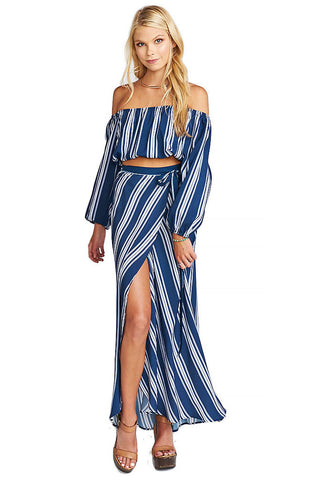 Show Me Your Mumu Lima Scrunch Top Navy Stripe-front