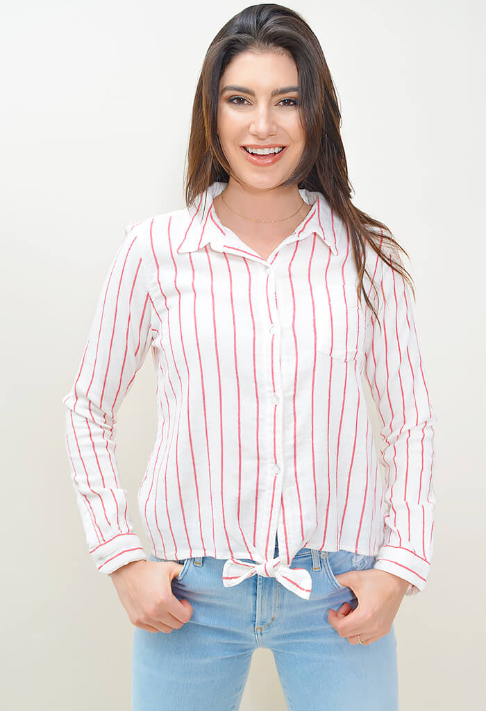 Hayley Tie Front Shirt - Red