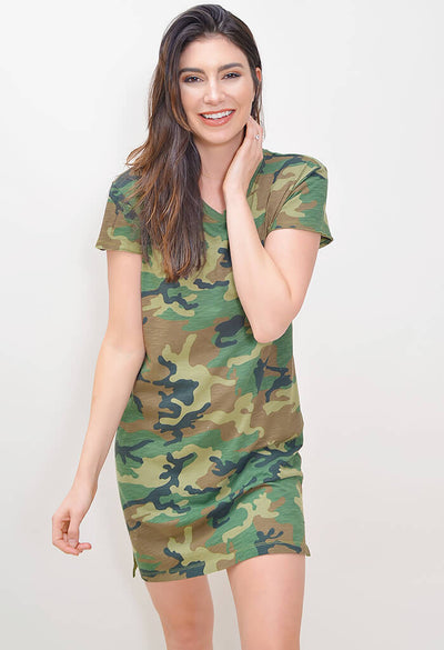 One Pocket T-Shirt Dress - Camo