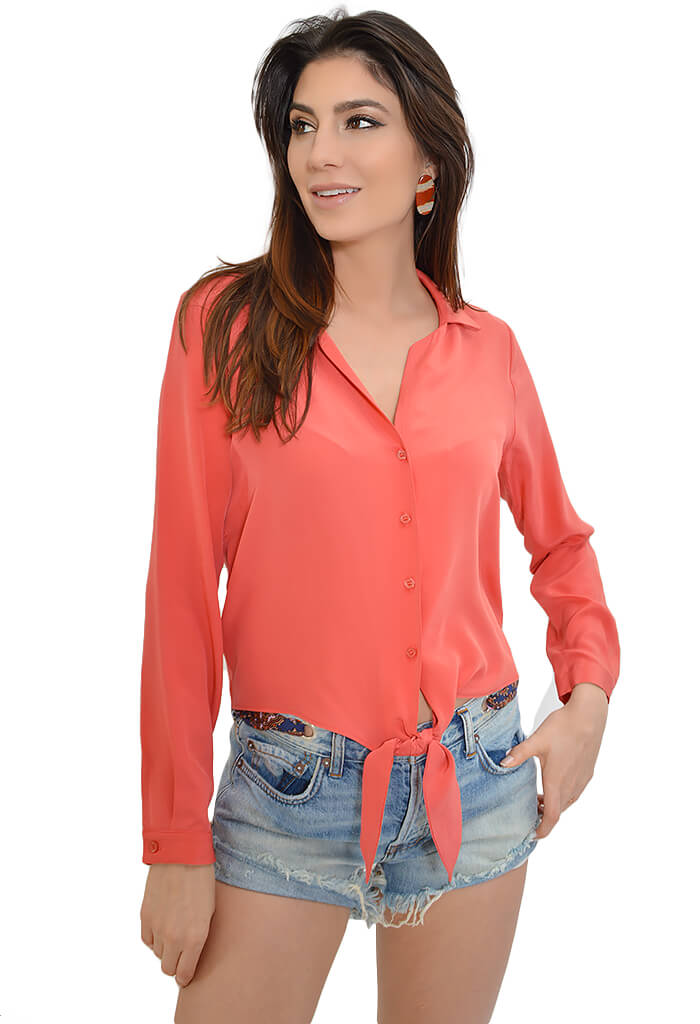 Lavender Brown Coral Punch Blouse