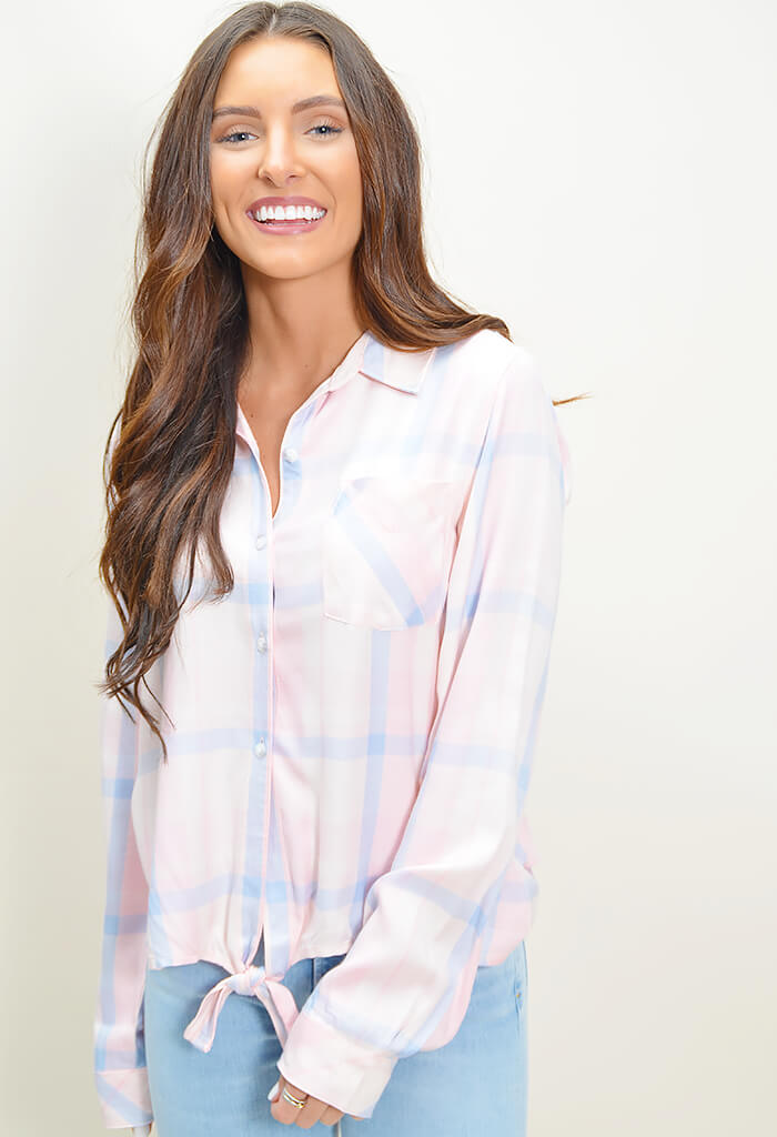 Hayley Tie Front Shirt - Blush
