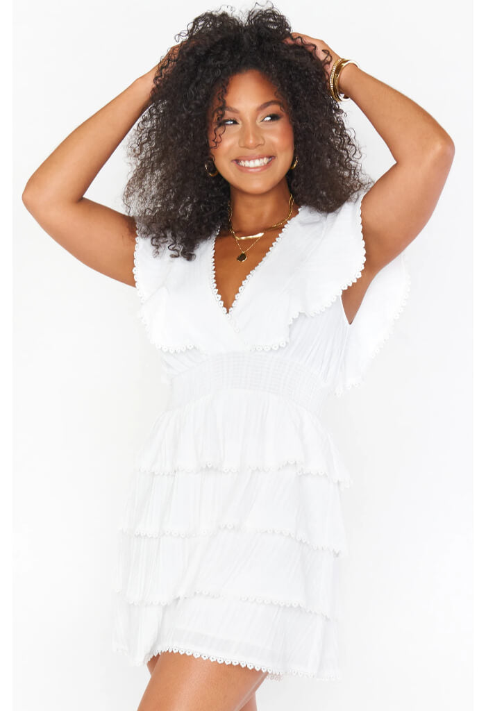 Show Me Your Mumu Sweet Ruffle Mini Dress-White