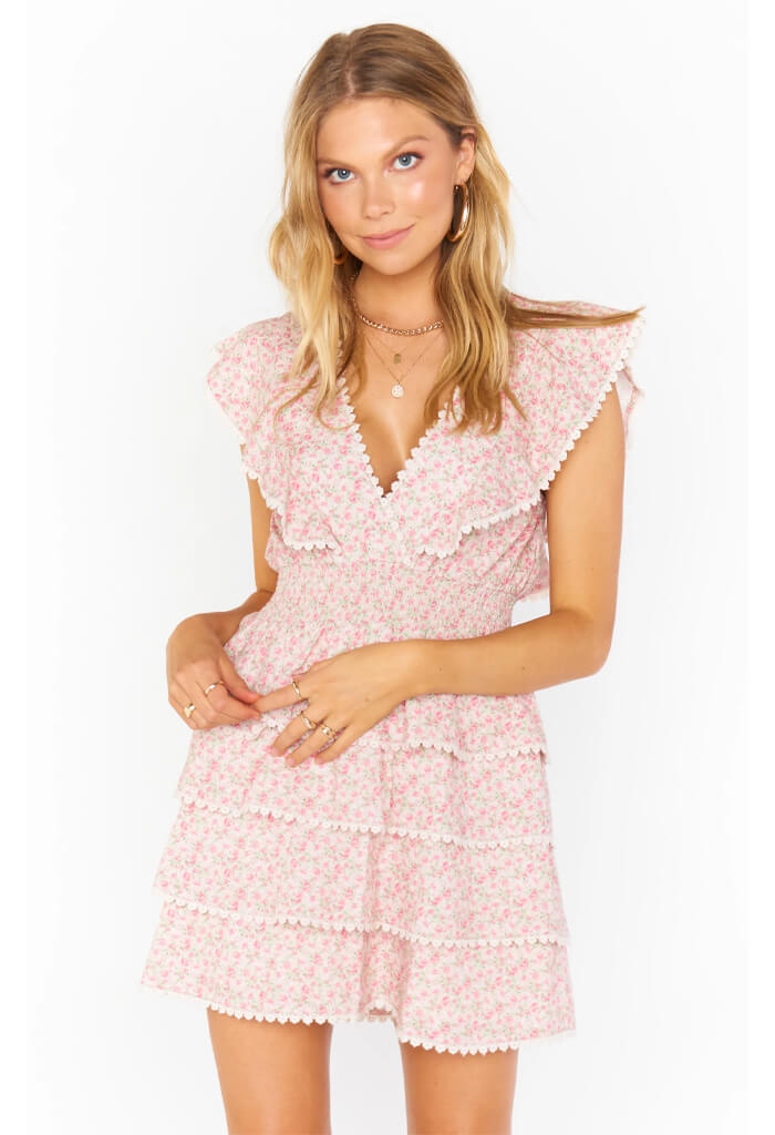 Show Me Your Mumu Sweet Ruffle Mini Dress-Little Rose Floral