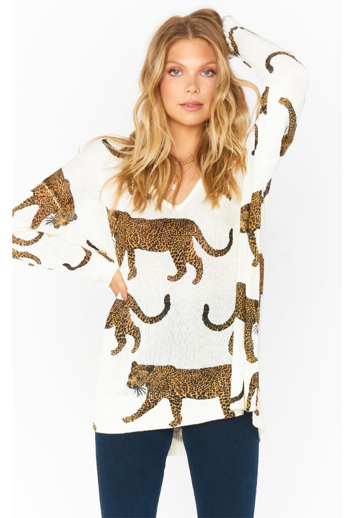 Show Me Your Mumu Hug Me Sweater-Tossed Leopard Knit