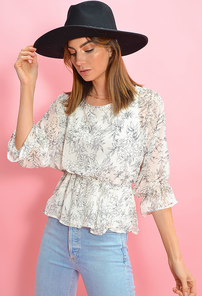 KK Bloom Floral Sketch Blouse