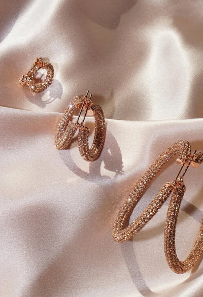 Pave Amalfi Huggies- Rose Gold- Light Peach