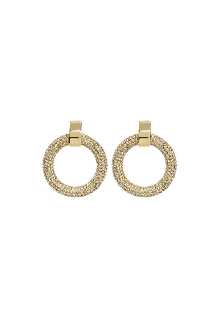 Mini Pave Door Knocker Hoops- Gold