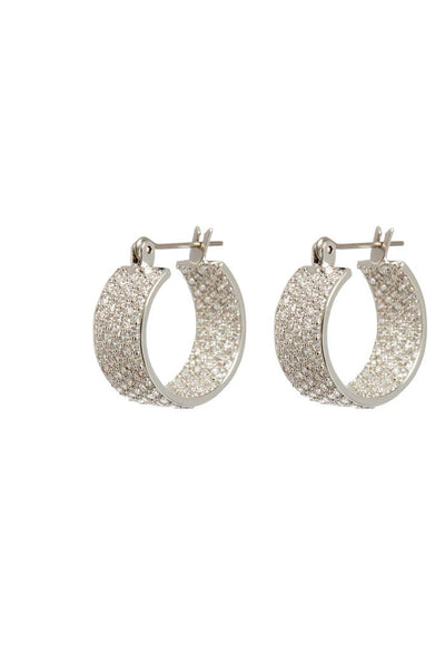 Pave Positano Hoops- Silver