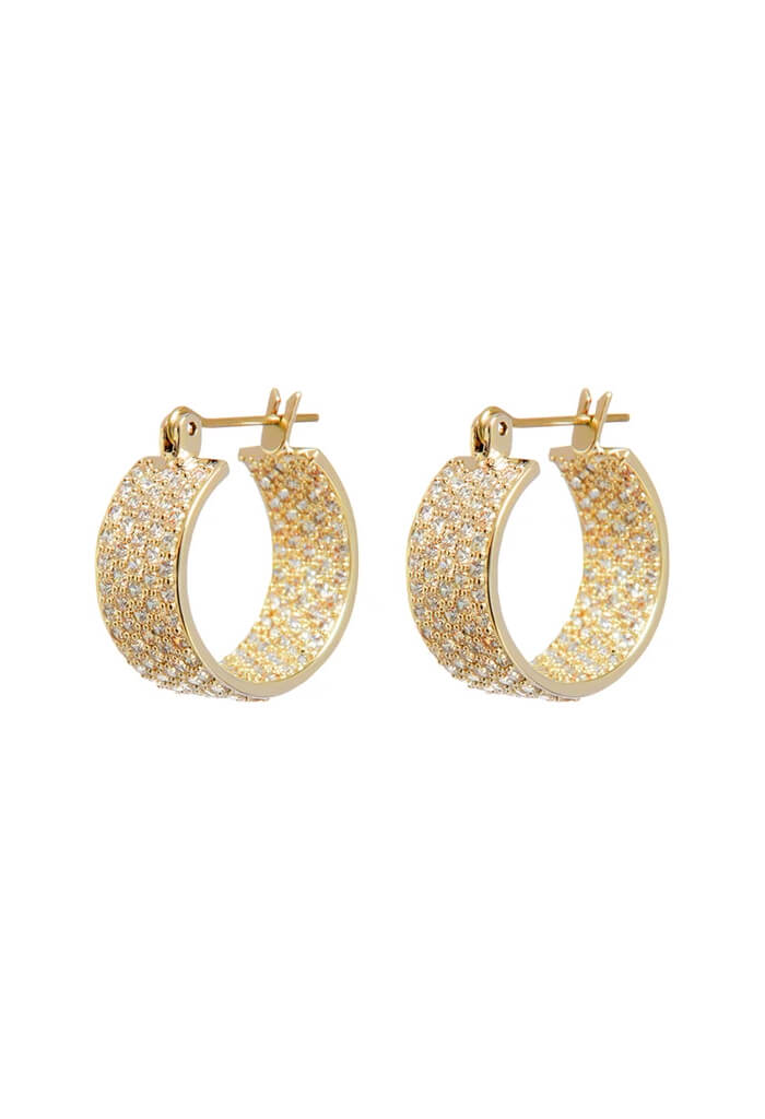 Pave Positano Hoops- Gold