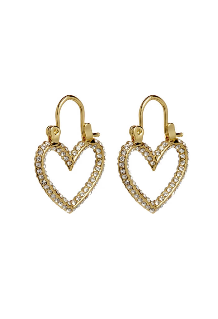 Pave Mini Heartbreaker Hoops- Gold