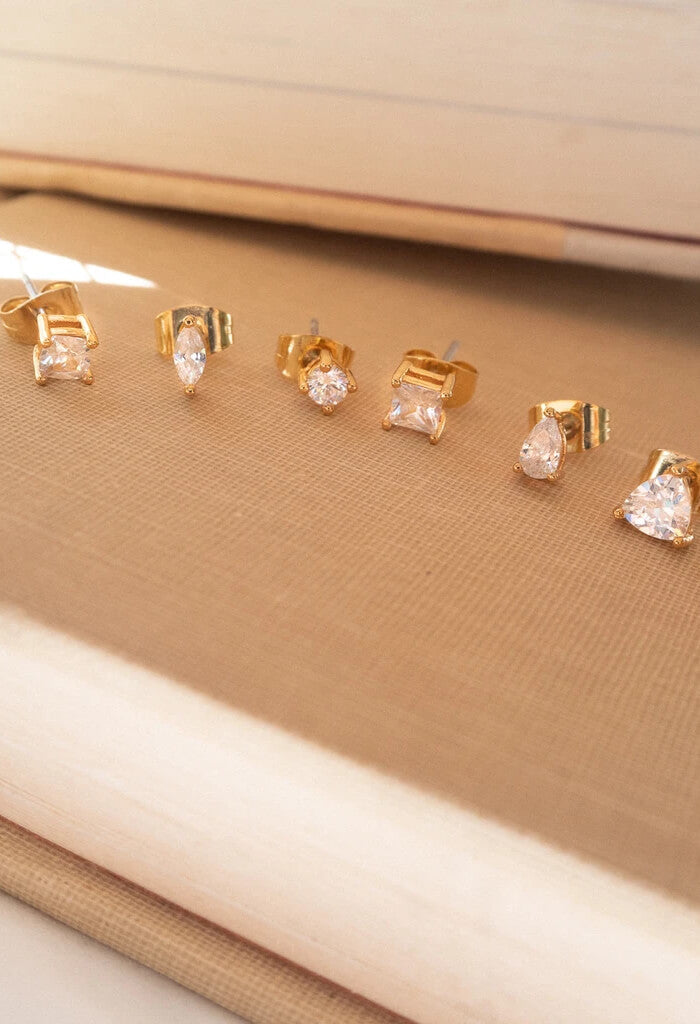 Diamonte Studs Set- Gold
