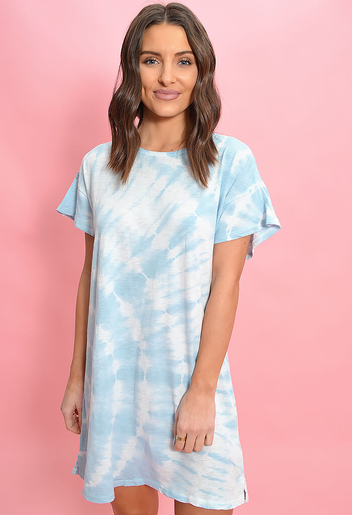 Z Supply Luna Swirl Tie Dye Dress-Blue Agave