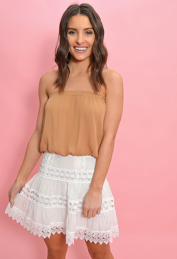 Elan Summer Tube Top-Caramel