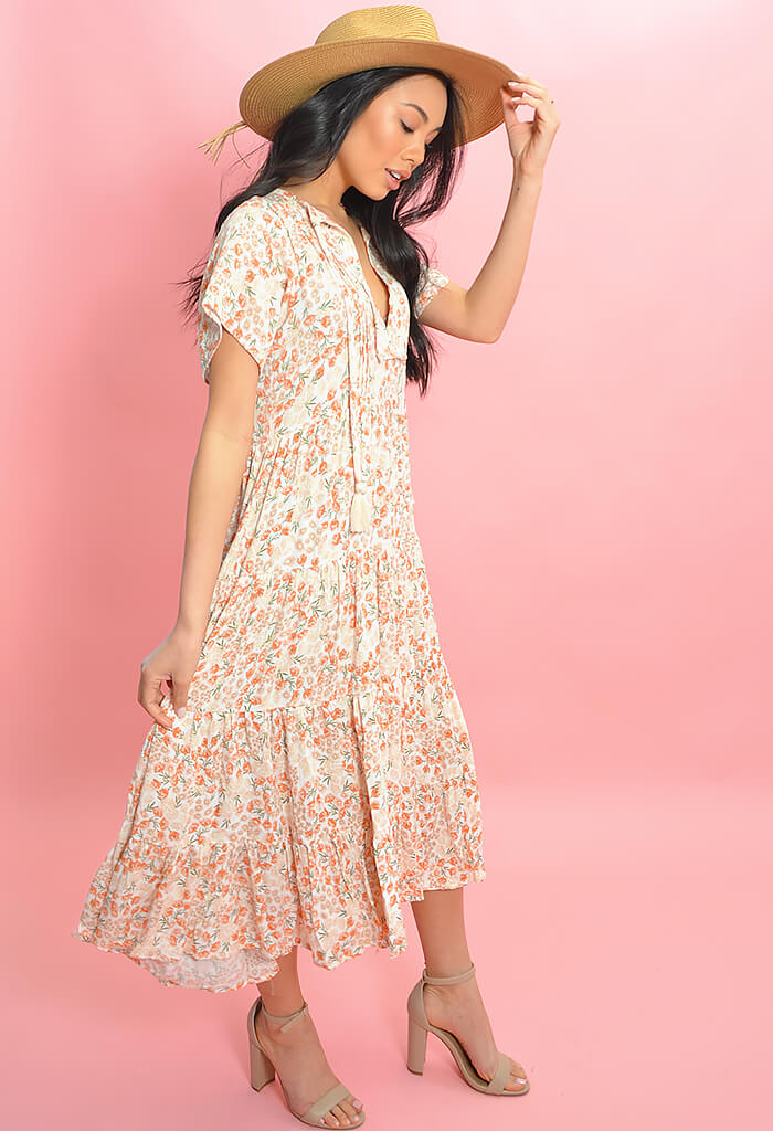 Peach Blossom Midi Dress