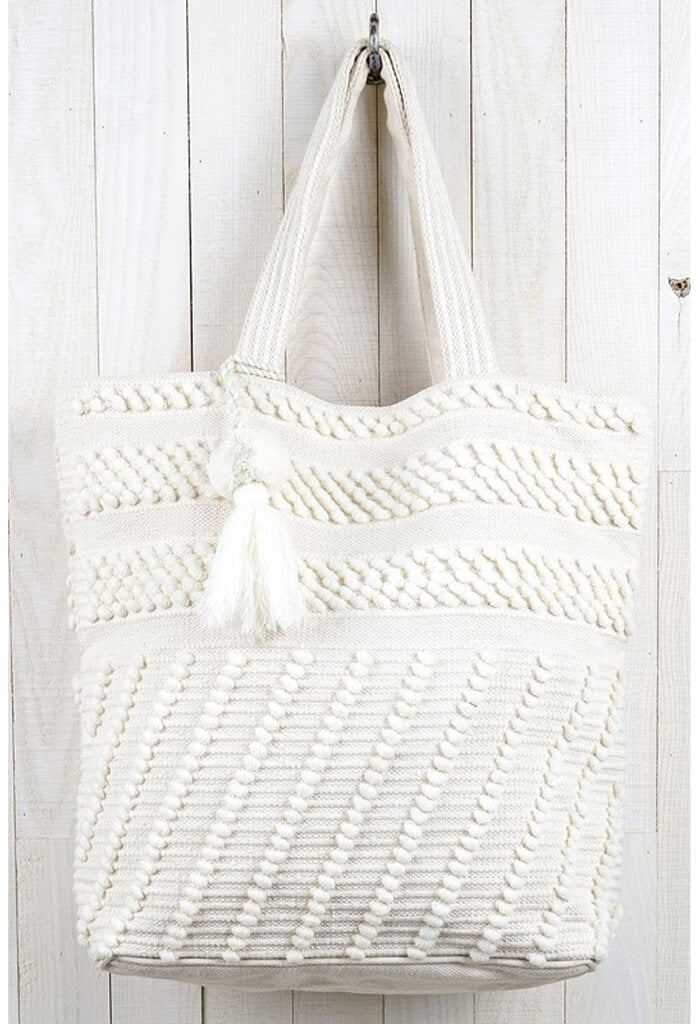 Vertical Loop Ivory Tote