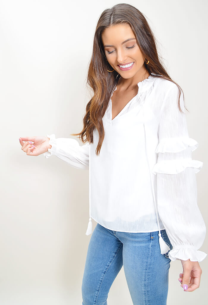 Weekend Getaway Ruffle Top
