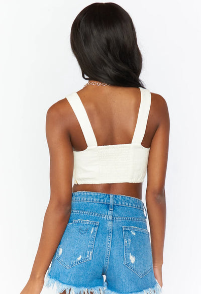 Adeline Crop Top-Ivory