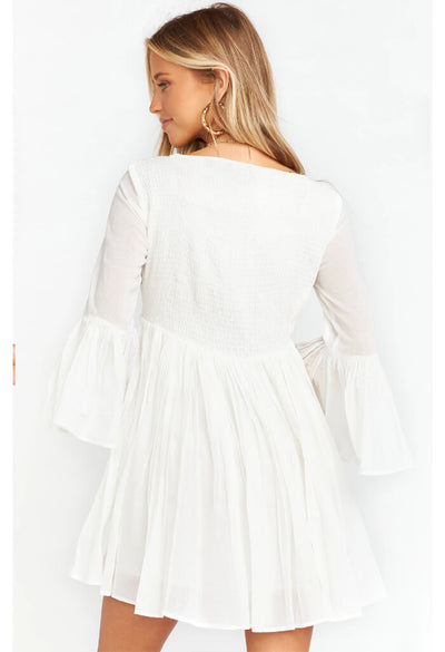 Magdalena Mini-Ruffle Patchwork White