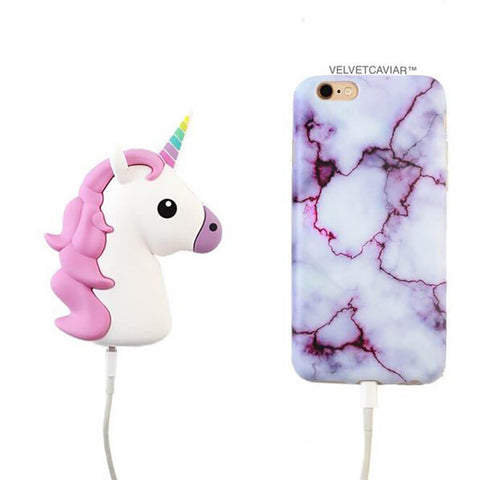 Portable Power Bank Phone Charger - White Unicorn