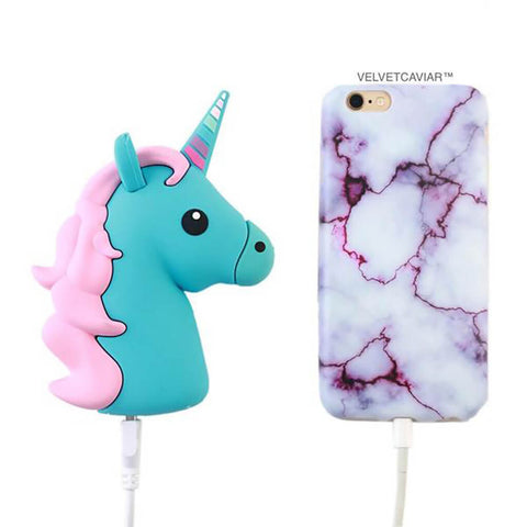 Portable Power Bank Phone Charger - Blue Unicorn
