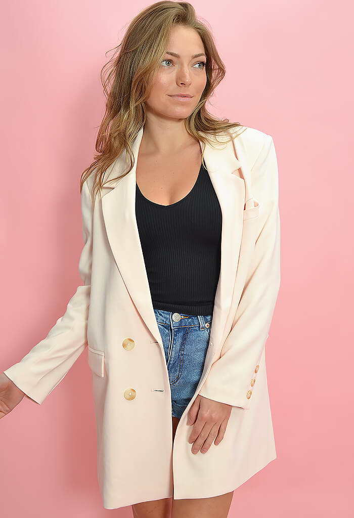 BB Dakota Dressed to Thrill Blazer-Blush Ivory