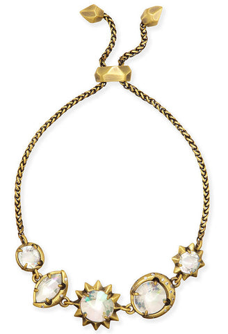 Jodie Adjustable Chain Bracelet in Antique Brass