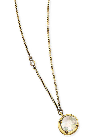 Quinn Pendant Necklace in Antique Brass