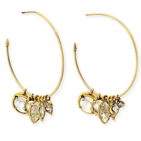 Alyssa Charm Hoop Earrings in Antique Brass