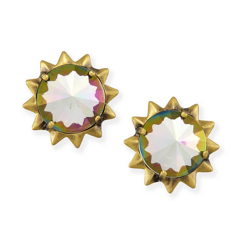 Irene Stud Earrings in Antique Brass