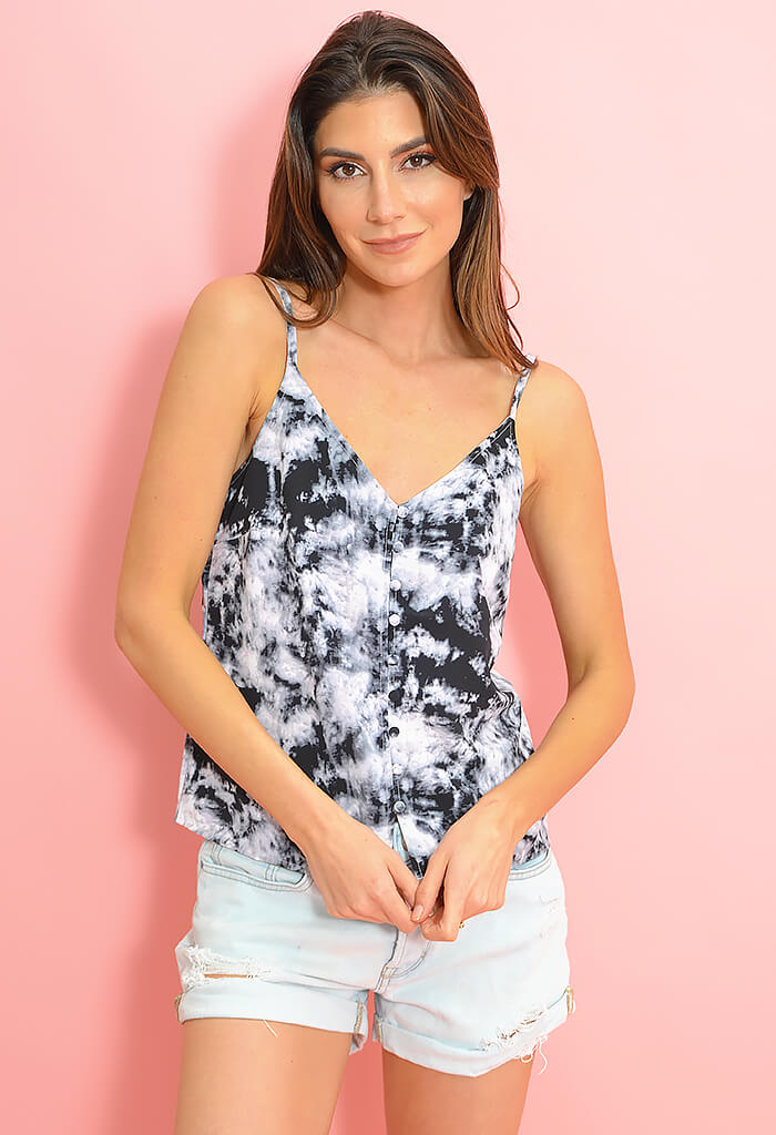 Essential Button Front Tank - Dark Tie-Dye
