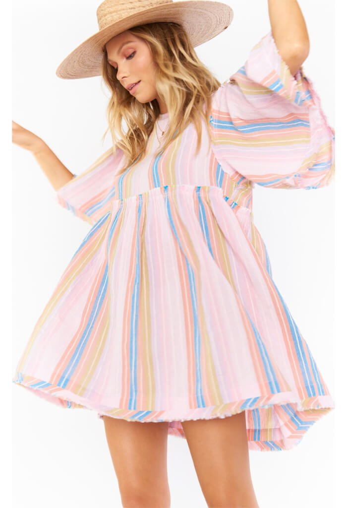 Show Me Your Mumu Brooks Babydoll Mini Dress-Paradise Stripe