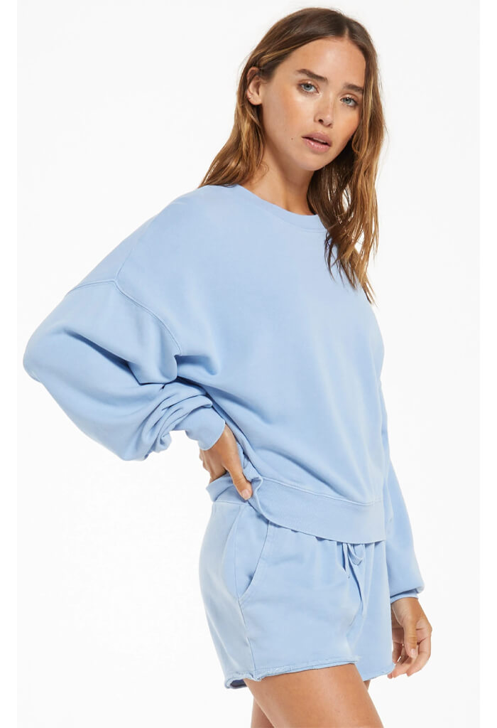 Z Supply Lia Washed Pullover-Perennial Blue