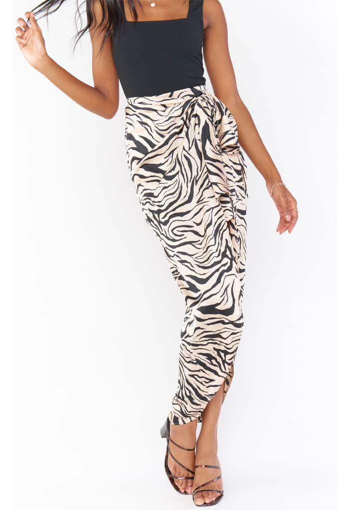 Show Me Your Mumu Wrap Me Up Skirt-Coconut Zebra Satin