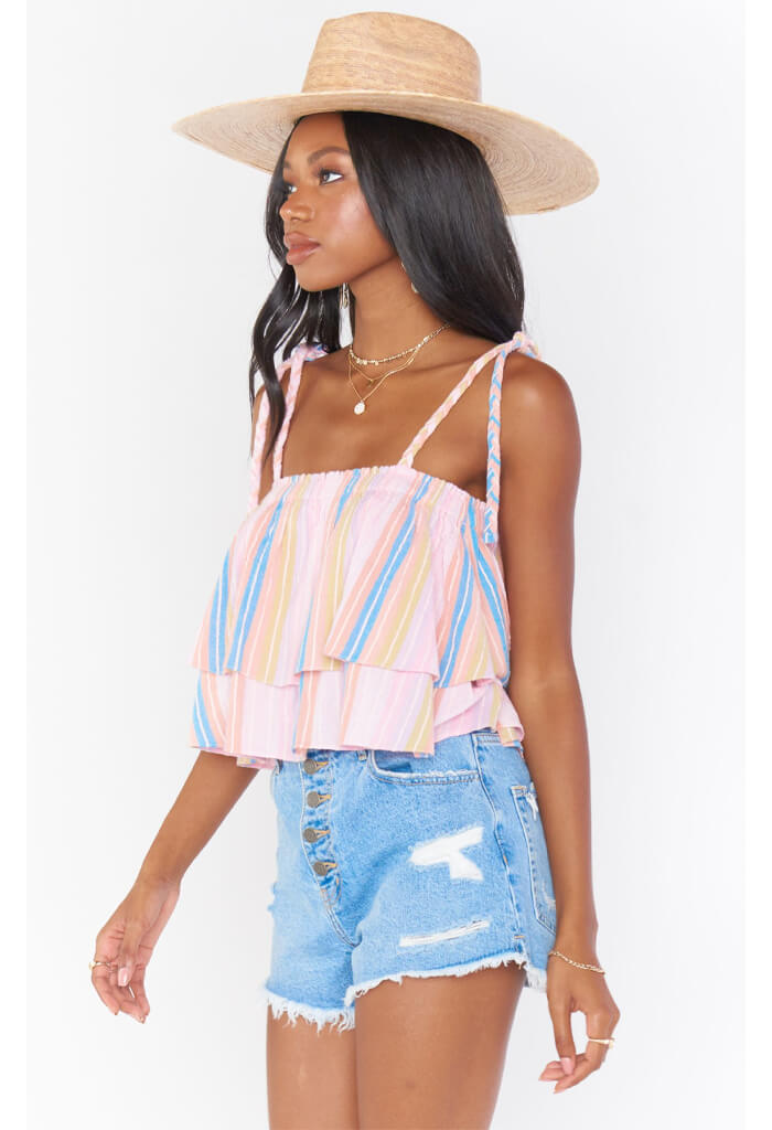 Show Me Your Mumu Klum Ruffle Top-Paradise Stripe